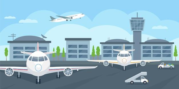 항공기와 자동차가 이륙하는 공항 터미널 빌딩