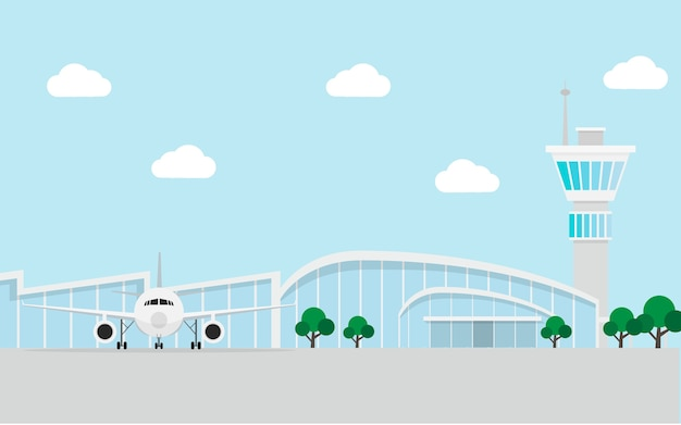 Airport terminal building with airplane and air traffic control tower