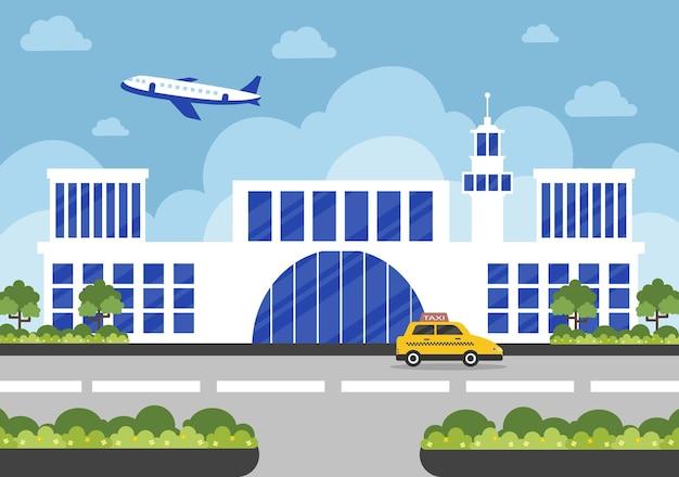 인포 그래픽 항공기 이륙 및 다른 전송 유형 요소 일러스트와 함께 공항 터미널 빌딩