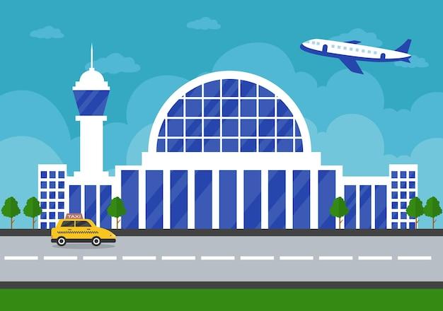 Здание терминала аэропорта с взлетающим инфографическим самолетом и иллюстрацией элементов различных типов транспорта