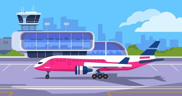 공항 터미널. 도착 및 출발을 기다리는 승객이 있는 만화 교통 허브