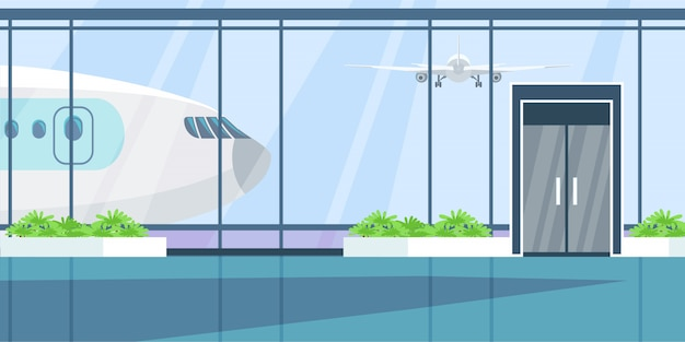 Airport terminal flat illustration.