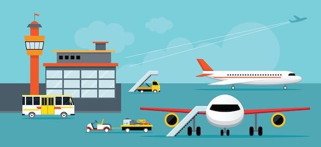 Аэропорт, терминал, наземные работы, фон