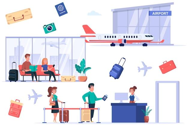 Набор изолированных элементов терминала аэропорта группа пассажиров проходит паспортный контроль туристов