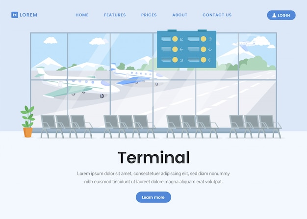 Airport terminal landing page flat template