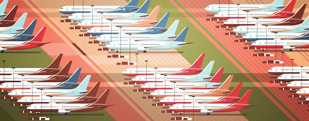 Airport terminal with parked airplanes at taxiway coronavirus pandemic quarantine  concept