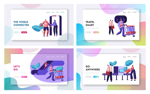 Airport terminal with passengers waiting for flight landing page template set.