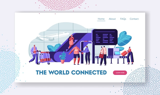 Airport terminal with passengers waiting for flight landing page template.
