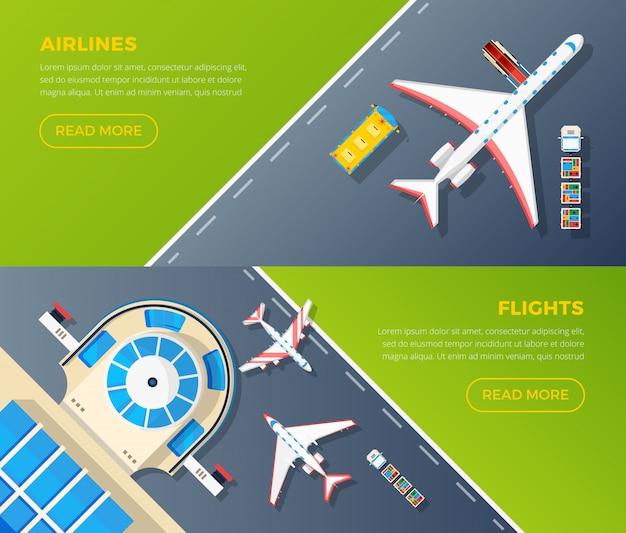 Set di banner vista dall'alto dell'aeroporto