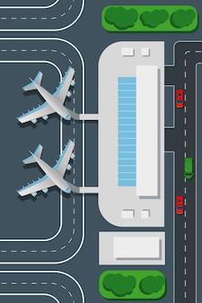 Illustrazione di vista dall'alto dell'aeroporto.