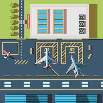Airport top view. terminal building and civil aircraft airport runway background