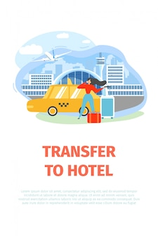 Airport transfer service flat vector promo flyer