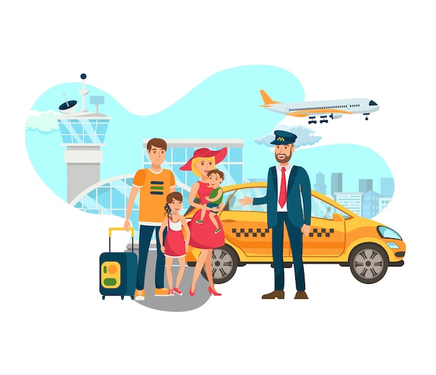 Airport transfer, shuttle services flat vector