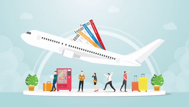 Airport transportation with people and plane fly with ticket and luggage suitcase with modern flat style - vector