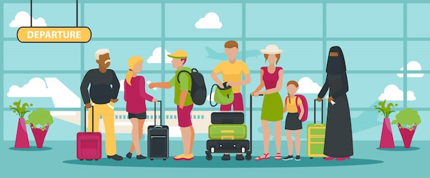 Airport   traveling people waiting flight with luggage in departure terminal illustration