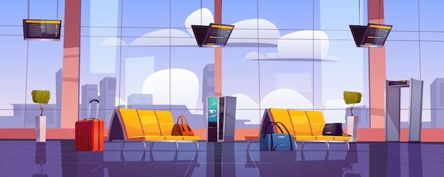 Зал ожидания аэропорта, пустой интерьер терминала со стульями, багажом, сканером безопасности и дисплеем расписания.