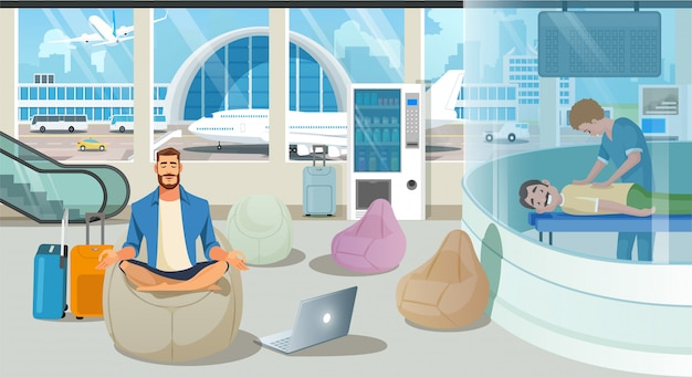 Airport waiting room or lounge service vector