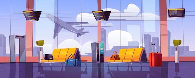 Sala d'attesa dell'aeroporto con aereo in decollo