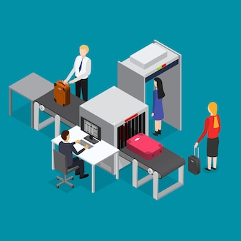 Airport waiting security control isometric view interior of terminal with passenger inspection on a blue.