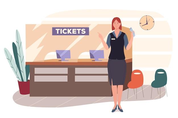 Веб-концепция аэропорта. стойка бронирования и продажи билетов или стойка регистрации на рейс. персонал аэропорта работает в приемной