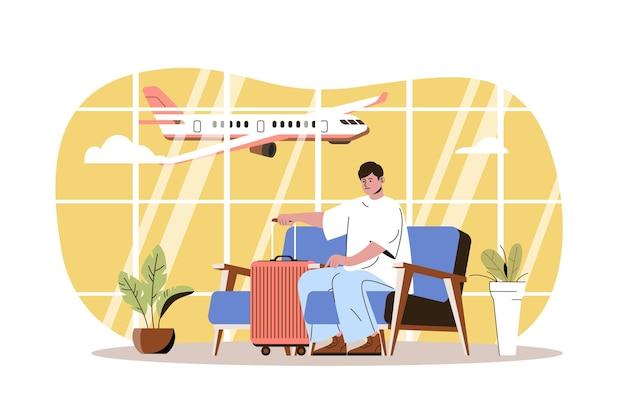 Веб-концепция аэропорта путешественник сидит в зале ожидания в терминале аэропорта человек с багажом идет