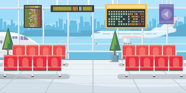 Airport with flight departure boards illustration