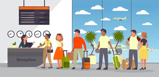 乗客のいる空港。チェックインと登録。キューにパスポートと荷物を持っている人。旅行や観光のコンセプトです。等尺性