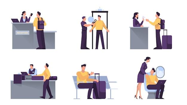 Аэропорт с пассажирским набором. регистрация и безопасность