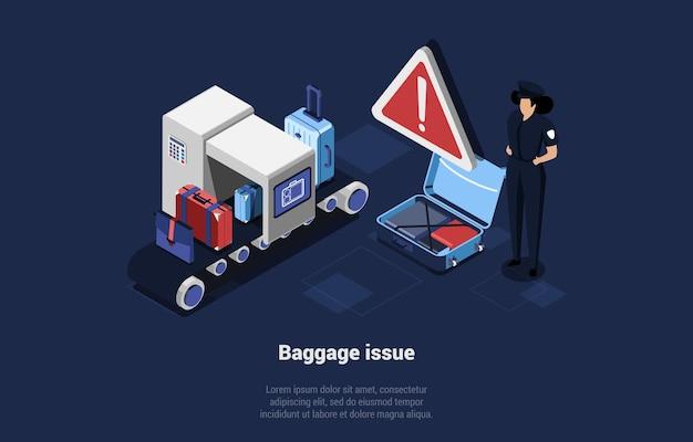 移動ストリップで荷物をチェックする空港労働者のキャラクター。漫画の3dスタイルの手荷物問題のイラスト