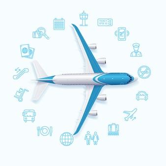 Концепция путешествия в мир аэропорта с набором иконок. векторная иллюстрация