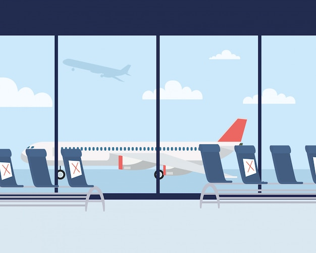 Covid19에 대한 사회적 거리가있는 공항 대기실 의자