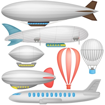 Airship, balloons and airplane in icons collection isolated illustration