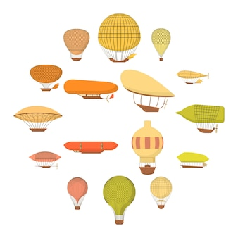 Airship balloons icons set, cartoon style