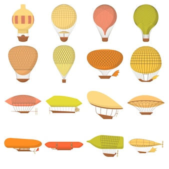 Airship balloons icons set