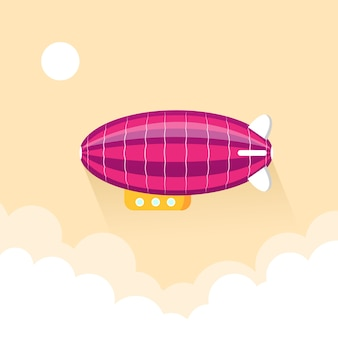 Airship blimp in evening sky background