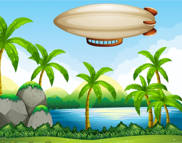 Airship flating on air