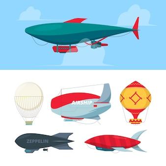 飛行船。旅行者の自由のシンボル航空輸送ベクトルイラストのための飛行船飛行船ツェッペリン。飛行船と気球、空の飛行船、航空機の飛行