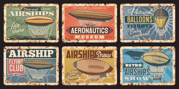 Airship and hot air balloon aircraft design Premium Vector