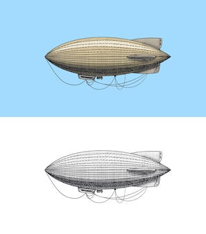 飛行船またはツェッペリンと飛行船または飛行船の刻まれた手描きの古いスケッチスタイルのヴィンテージ輸送