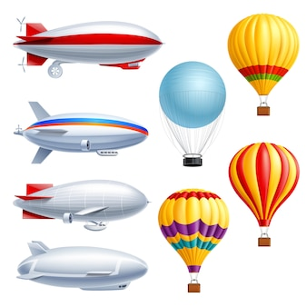 Airship realistic icon set