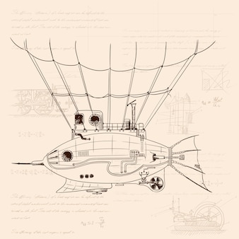 Airship in the shape of a fish with a metal body on mechanical control in steampunk style