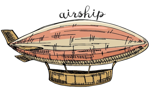 Airship sketch in steampunk style hand drawn illustration