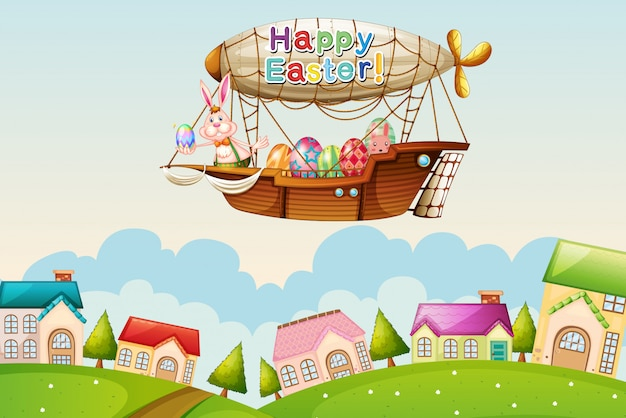 An airship with an easter greeting