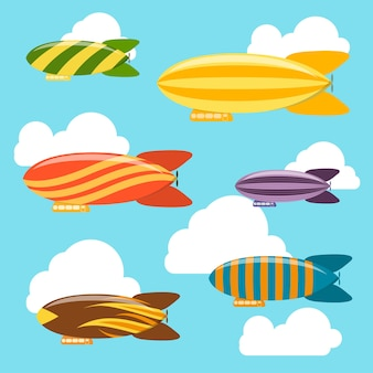 Airships in the sky background. dirigible travel transportation.