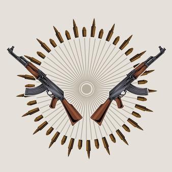 Дизайн логотипа пистолета ак 47