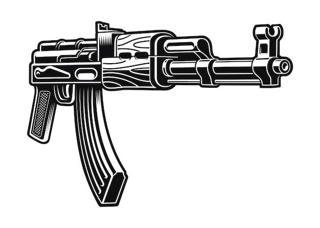 Ak 47 소총 그림 흰색으로 격리