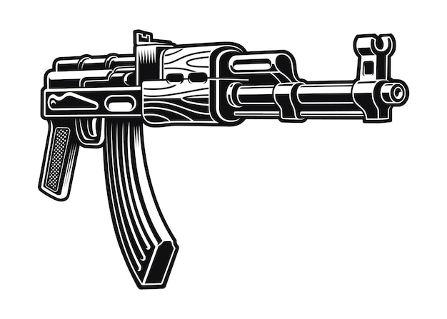 Ak 47 riffle illustration isolated on white