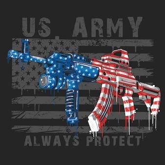 アメリカ陸軍アメリカ兵士兵器ak-47とアメリカ国旗