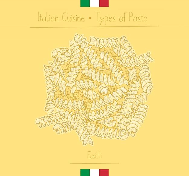 Итальянская еда паста спиральной формы aka fusilli
