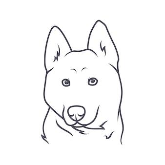 秋田犬 - ベクトルロゴ/アイコンイラストマスコット
